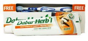 Зубная паста с гвоздикой Dabur Herbal +зубная щётка в подарок!