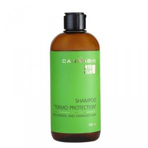 Безсульфатний шампунь «Термозащита» с протеинами шелка, гиалуроновой кислотой и экстрактом каннабиса для нормальных и поврежденных волос, CANNABIS