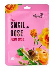 Питательная тканевая маска с муцином улитки и розой (Snail Rose Facial Mask), Moods