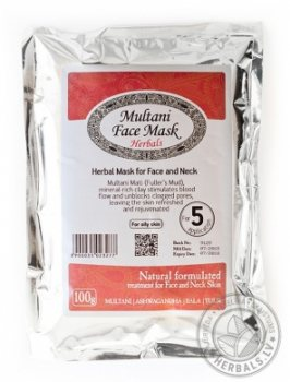 Травяная маска для жирной кожи лица и шеи Multani Mitti, Elfarm