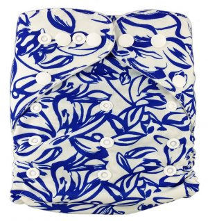 Подгузник многоразовый Синие цветы, StylishBaby