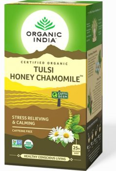 Лечебный аюрведический чай Tulsi Honey Chamomile, Organic India