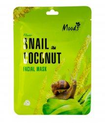 Питательная тканевая маска с муцином улитки и экстрактом кокоса (Snail Coconut Facial Mask), Moods
