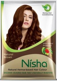 Хна для окрашивания волос в порошке Nisha, коричневая