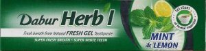 Освежающий гель для зубов с мятой и лимоном, Dabur Herbal