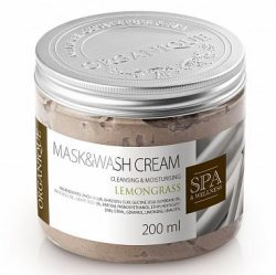 Маска для тела с глиной гассул Лемонграсс, Mask&Wash Cream, Organique