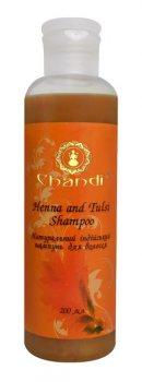 Укрепляющий натуральный индийский шампунь без SLS Хна и Тулси, Chandi