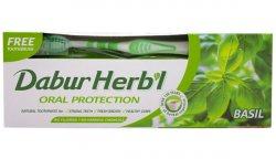 Зубная паста с базиликом Dabur Herbal +зубная щетка в подарок!