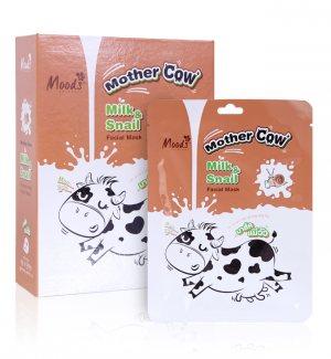 Тканевая маска для лица Молоко и муцин улитки (Cow Milk& Snail), Moods
