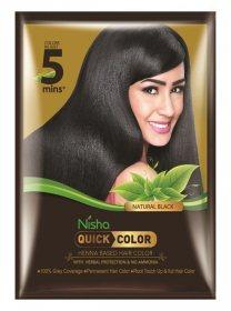 Краска для волос на основе хны с травами 5 мин. Черная, Nisha