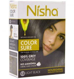 Безаммиачная краска для волос Светло-Чёрный (1.5 Light Black), Nisha