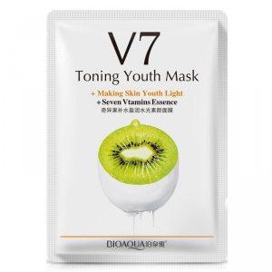 Тканевая маска для лица тонизирующая витаминная с экстрактом киви (V7 Toning Youth Mask + Seven Vitamins Essence) (BQY9262), Bioaqua