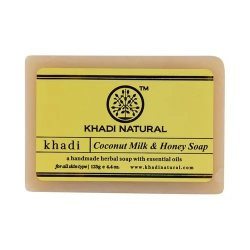 Аюрведическое мыло ручной работы Кокосовое молоко и Мёд (Coconut milk & Honey soap), Khadi