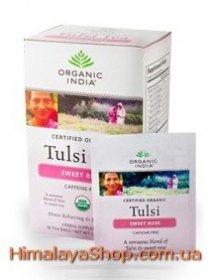 Лечебный аюрведический чай Tulsi Sweet rose, Organic India