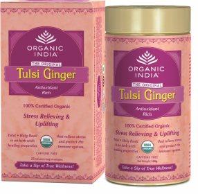 Лечебный аюрведический чай Tulsi Ginger, Organic India