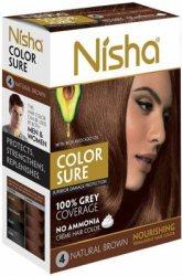 Безамиачная стойкая крем-краска с маслом авокадо №4 Натурально-коричневая, Nisha
