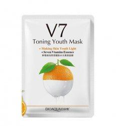 Тканевая маска для лица омолаживающая с экстрактом апельсина с семью витаминами (V7 Toning Youth Mask+7 vitamins) (BQY9255), Bioaqua