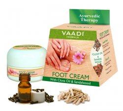 Аюрведический крем для ног с маслом гвоздики и сандалом, Vaadi Herbals