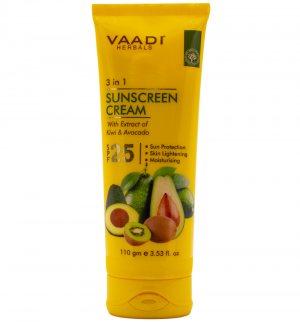 Солнцезащитный крем для лица и тела Киви и Авокадо (Sunscreen Cream Kiwi & Avocado SPF 25), Vaadi Herbals