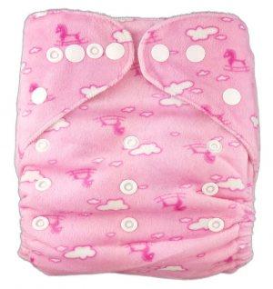 Подгузник многоразовый велюровый Розовые облака, StylishBaby