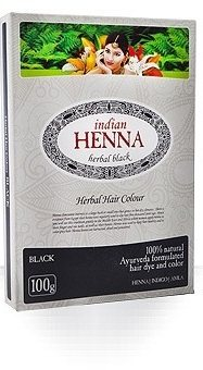 Краска для волос на основе хны Чёрная (Black), Indian Henna
