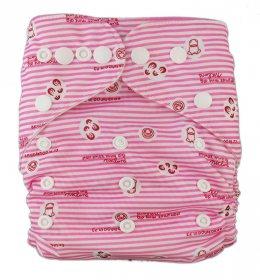 Подгузник многоразовый Розовые следы, StylishBaby