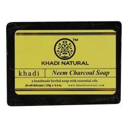 Аюрведическое мыло ручной работы Ним Активированный уголь (Neem Charcoal soap), Khadi