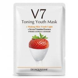 Тканевая маска для лица витаминная с экстрактом клубники + 7 витаминов ( V7 Toning Youth Mask + 7 vitamins), Bioaqua