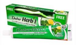 Освежающий гель для зубов с мятой и лимоном Dabur Herbal +зубная щетка в подарок!