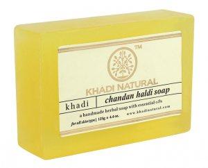 Натуральное мыло ручной работы Сандал куркума (Chandan haldi soap), Khadi