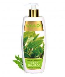 Аюрведический шампунь для сухих волос Хна и Зеленый чай, Vaadi Herbals