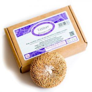 ВЕТИВЕР природный массажный скраб-мочалка с натуральным ароматом, Elfarm